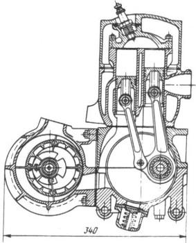 Двигатель Звезда-3 со смежными цилиндрами и коловратным нагнетателем
