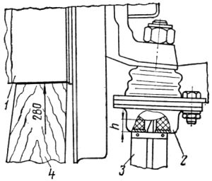 Схема проверки нижнего шарового шарнира: 1 — ступица; 2 — нижняя половина шарнира; 3 — штангенциркуль; 4 — деревянная колодка.